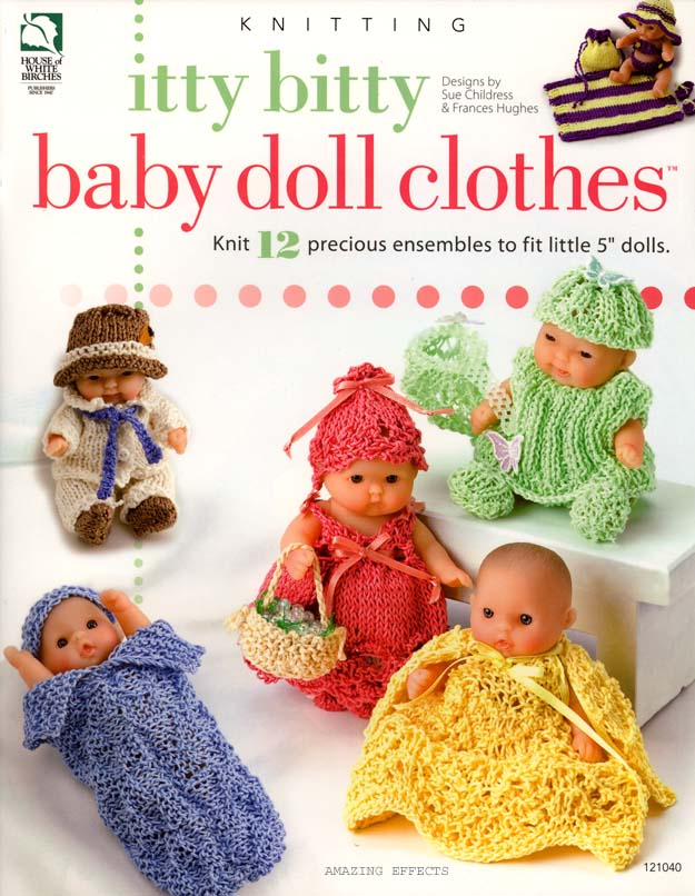 Bitty Baby Doll Clothes Knitting Pattern Book 12 Outfits for 5 Dolls
