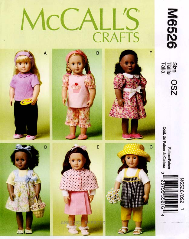 McCalls-Pattern-M6526-18-American-Girl-Doll-Clothes-top-shoes-robe-jumper-6526