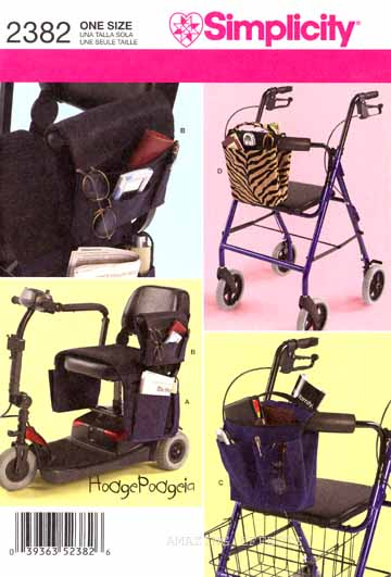 Simplicity Pattern 2382 Bags Scooter Wheelchair Walker 039363523826
